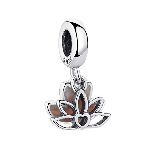EvesCity Bolenvi - Abalorios colgantes de plata de ley 925 con diseño de loto rosa para pulseras y collares - El mejor regalo para ella yoga Ohm