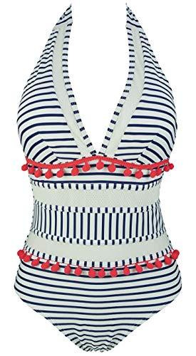 COCOSHIP Navy Blue & White Striated Stripe Mesh One Piece Backless Bather Swimsuit Red Pom Pom Tassel Swimwear Bath Monokini 14
