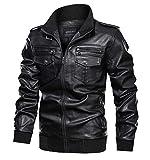 KEFITEVD Chaquetas estilo vintage de piel sintética para motociclista, estilo retro, con múltiples bolsillos, estilo militar
