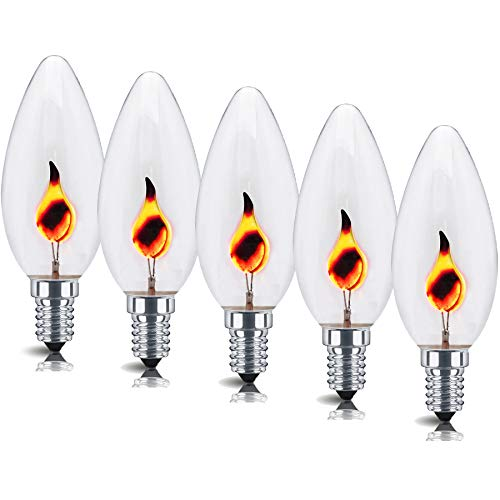 5X 3w Flicker Flame Effect Candle Light Bulb. E14 Small Edison Screw. Provides a Realistic Flickering Flame. 35mm Diameter, 90mm Length. 240v