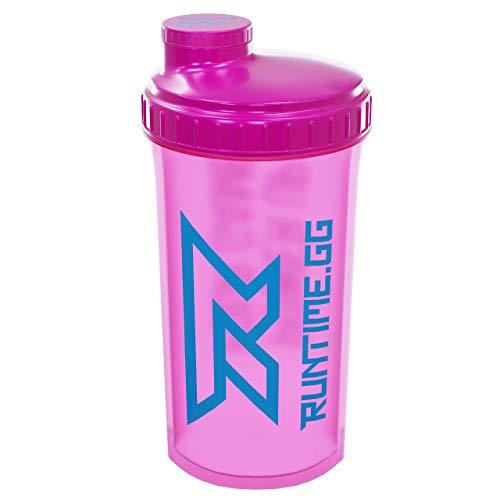 Runtime - Shaker per proteine, capacità: 700 ml, con setaccio, 100% ermetico, senza bisfenolo A, con scala di misurazione (Neon Pink)