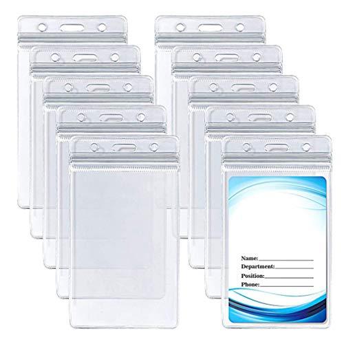 RuiChy 10pcs Tarjetero de PVC transparente para tarjetas de identificación con cremalleras impermeables y resellables para tarjetas de identificación de la escuela, oficinas