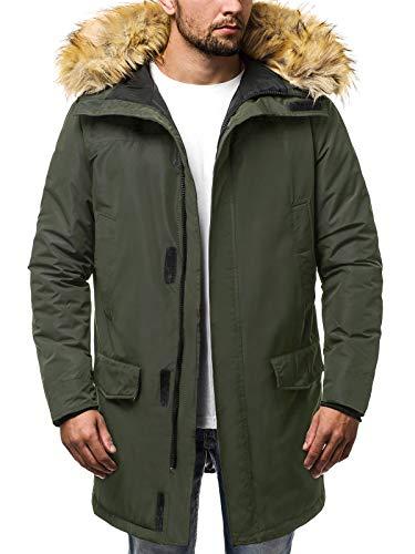 OZONEE Herren Winterjacke Parka Jacke Kapuzenjacke Wärmejacke Wintermantel Coat Wärmemantel Warm Modern Täglichen JS/HS201810 GRÜN 2XL