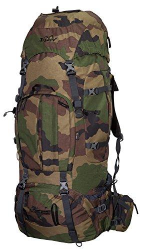 Tashev Outdoors Mount S+ Trekkingrucksack Front und Toplader Wanderrucksack Damen Herren Backpacker Rucksack groß 100l Plus 20l mit Regenschutz (Hergestellt in EU) (Camouflage)