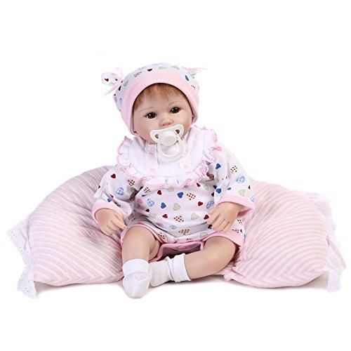 Nicery Reborn Baby Doll Rinato Bambino Bambola Vinyl molle del Simulazione Silicone 18 pollici 45cm Bocca Realistico Ragazzo Ragazza Bambina Giocattolo vivido 3 anni + Bianco Bavaglino Cuscino Occhi aperti