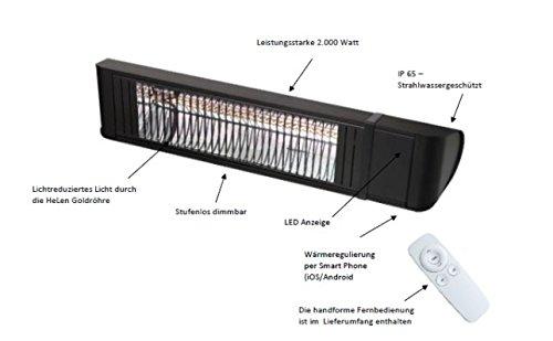 Infrarotstrahler HeizMeister LuXus Professionell schwarz, steuerbar über Smartphone oder Fernbedienung