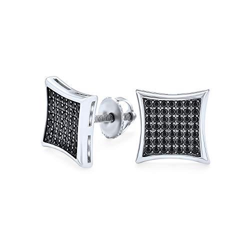 Cometa cuadrada negra en forma de CZ Micro Pave Cubic Zirconia Pendientes para Mujer Para 925 Silver Screwback 11MM