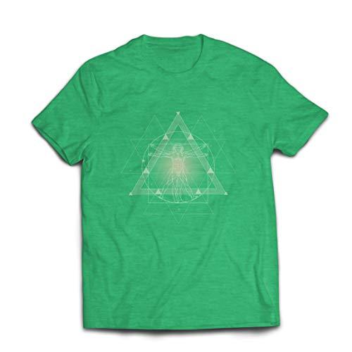 lepni.me Camisetas Hombre Divino Hombre de Vitruvio Leonardo Da Vinci Geometra Sagrada (XXL Brezo Verde Multicolor)