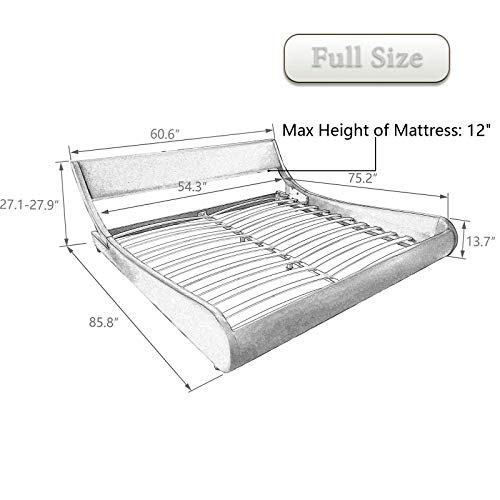Amolife Modern Full Platform Bed Frame with Adjustable Headboard,Mattress Foundation Deluxe Solid Faux Leather Bed Frame with Wood Slat Support Dark Brown
