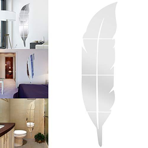Anladia Espejo Decorativo Pegatinas Espejo Adhesivos Pared Pluma Decoración de Pared Elegante de PLÁSTICO Modelos Diferentes (1200mm*300mm)