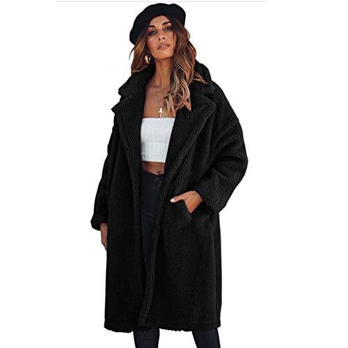 ELEAMO Teddy jas lange sectie vrouwen vest dikke warme warme kleur knie lengte vrouw katoenen jas met zak S-XXL