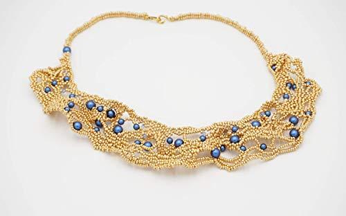 Collana girocollo artigianale fatto a mano in tessitura di perline, perle, cristalli bicono, gioiello particolare ed esclusivo