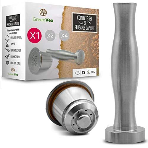 Greenvea - Juego Completo de capsulas de café Nespresso rellenables y Reutilizables. Capsulas rellenables de Acero Inoxidable para café y té. (1capsula, támper, guía y Cuchara de dosificación)
