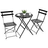 Stuan Three-Piece Wrought Iron Patio Bistro Set, Folding Outdoor Patio Furniture Sets,3 Piece Patio Set of Patio Table and Chairs