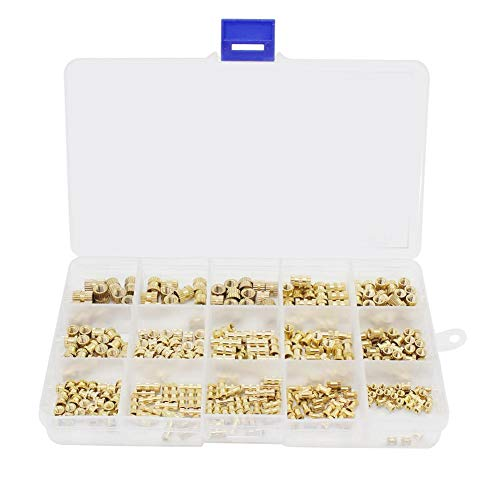 M2 M3 M4 M5 Female Threaded Knurled Brass Threaded Inserts Nut Assortment Kit with Plastic Box for 3D Printing 330pcs