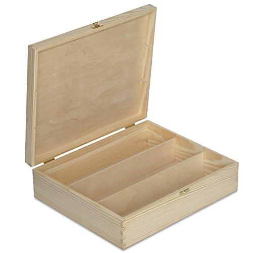 Creative Deco Wein-Kiste aus Natürliches Kiefern-Holz | Wein-Box für 3 Flaschen mit Deckel und Verschluss | 35,1 x 30 x 10 cm | Perfekt für Decoupage, Lagerung, Dekoration oder als Geschenk-Holzkiste