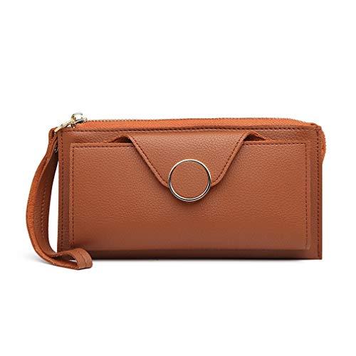 Miss Lulu portemonnee clutch portemonnee kunstleer met ritssluiting polsband portemonnee bescherming lange beurs LN6884, bruin (bruin) - LN6884