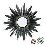 Relaxdays Miroir de décoration Soleil, Rond, à accrocher, Cadre métal, Salon, Ornement, Vert foncé, Fer, Verre, Carton, Design B, Taille Unique