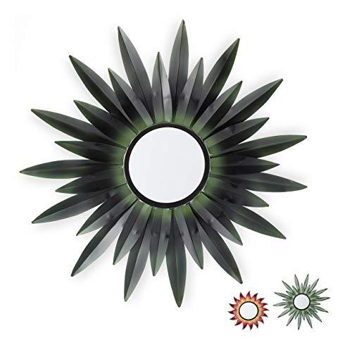 Relaxdays Espejo de Pared con Forma de Sol, Diseño B, Redondo, para Colgar, Metal, 1 Ud, Verde Oscuro, 1Ud