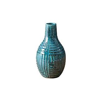 Silk Flower Arrangements Blue Ceramic Pottery Vase Floreros for Flowers Centerpieces Modern Elegant Decorative Home Decor (Height 9.5'')