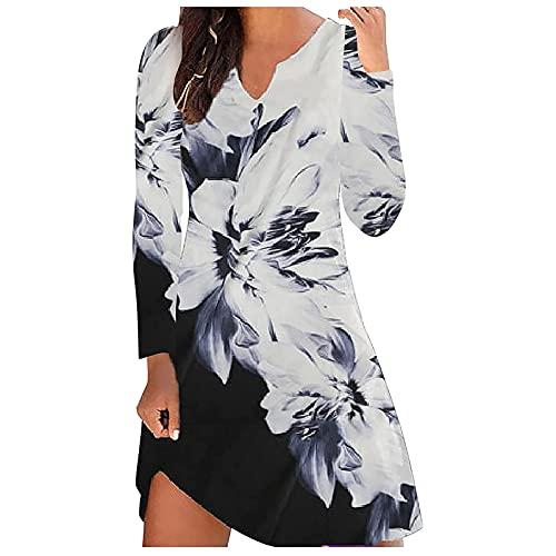 Vestido de verano para mujer, diseño floral, vestido de playa, sin mangas, camiseta larga, línea A, vestido...