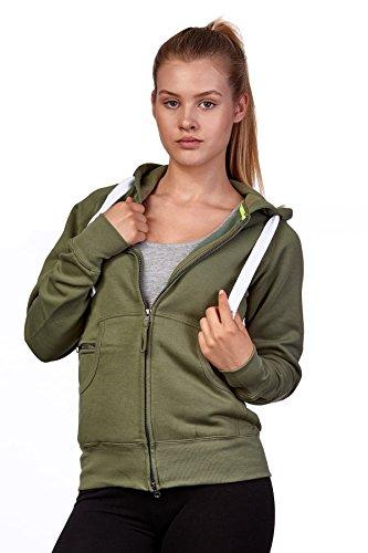 Happy Clothing Damen Sweatjacke mit Kapuze Zip Hoodie Kapuzenjacke Basic Einfarbig S M L, Größe:L, Farbe:Olivgrün