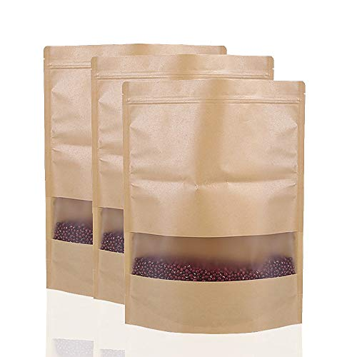 Bolsas de Sellado de Agarre Ziplock Reutilizables de 50 Piezas Bolsa de Papel Kraft Impermeable con Ventana Transparente Bolsas de Almacenamiento de Alimentos Bolsa de Embalaje