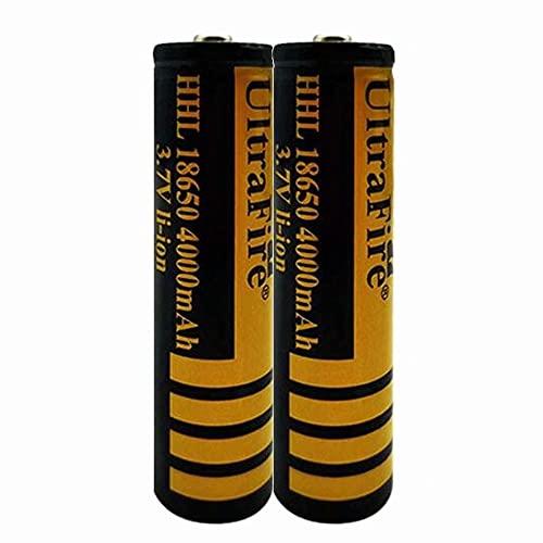 2 pcs 18650 Batería de Litio Recargable 3.7V 4000mAh Baterías de botón de Gran Capacidad para Linterna LED, iluminación de Emergencia, Dispositivos electrónicos, etc.