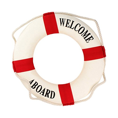 Shumo Willkommen an Bord Schaum Wasser Leben Rettungsring Ring Boot Wandbehang Hauptdekoration Rot 50cm