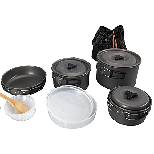 MAYAHA Cookware Camping Set Outdoor Cooking bowl set Backpacking Picnic Gear for 4-5 persons for Travel Backpacking Hiking (Color : Black)
