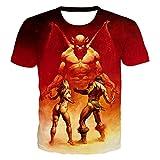 DREAMING-Verano 3D impresión Digital Camiseta Casual Suelta Cuello Redondo pulóver Top Hombres y Mujeres Manga Corta XL