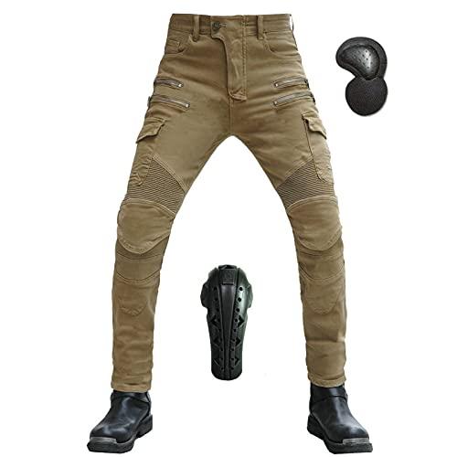 JICAIXIAYA Hombre Pantalones Para Motocicleta, Moto Pants Motorcycle Kevlar Tela Jeans Antiviento Respirable Resistente Al Desgaste Con Retirable Alargado CE Armadura Protección (Caqui,M)