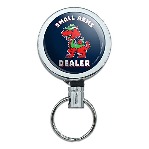 Small Arms Dealer T-Rex Card Poker Funny Humor Heavy Duty Metal Retractable Reel ID Badge Key Card Tag Holder with Belt Clip
