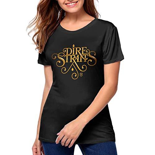 Dire Straits Logo Women's Fashion Cotton Short Sleeve Round Neck Shirts Black M