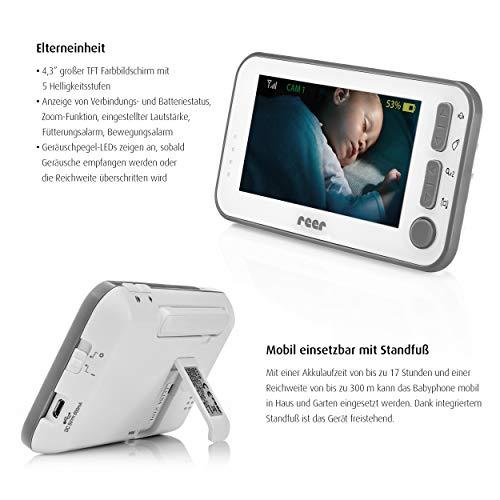 reer 80430 BabyCam Video Babyphone L, 300m Reichweite, 50 Grad Weitwinkel-Kamera, 4,3″ TFT Display, mit Bewegungs-Alarm, weiß - 3