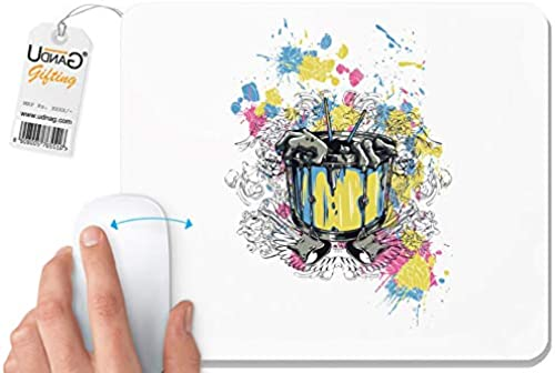 UDNAG White Mousepad Musical Instrument Gaitar Drum and Death for Computer PC Laptop 230 x 200 x 5mm