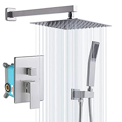 Rugus Shower System?Luxury Rain Mixer Shower Combo Set Wall Mounted Rainfall Shower Head System?10 Inch Square Rain Shower Head?Brushed Nickel(Contain Shower faucet rough-in valve body and trim)