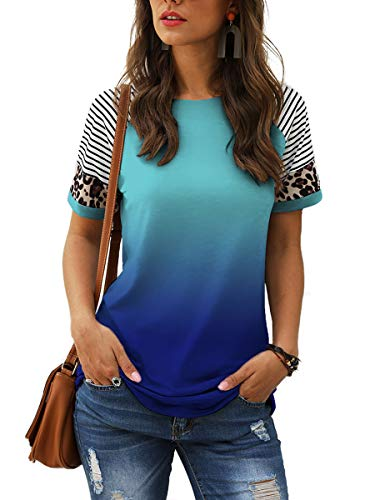 in budget affordable Women's Tops Leopard Print Gradient Color Striped Puzzle Shirt Casual T-shirt Blue M.