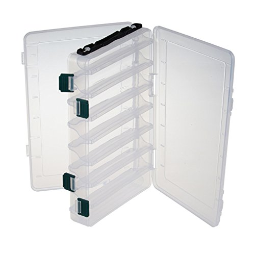 12/16 Compartments Double Sided Fishing Tackle Box Visible Hard Plastic Clear Fishing Lure Bait Squid Jig Minnows Hooks Accessory Storage Case Container (16-Compartment Double-sided)