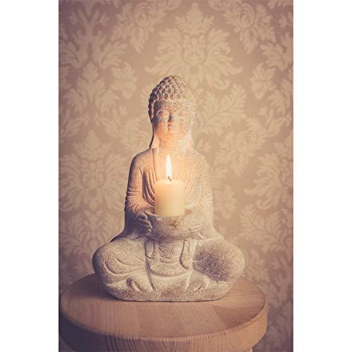 Stein Buddha Figur Deko Weiß 30cm Thai Skulptur Teelicht betende Garten Steinfigur Teelichthalter Statue Zen Buddhafigur