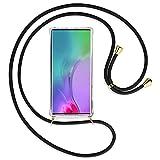 TBOC Funda para Samsung Galaxy Note 10 Plus - Note 10+ 5G [6.3'] - Carcasa Transparente con Cuerda [Negra] para Móvil Cordón Ajustable Práctico Collar de Moda Cadena para Cuello Resistente Arañazos