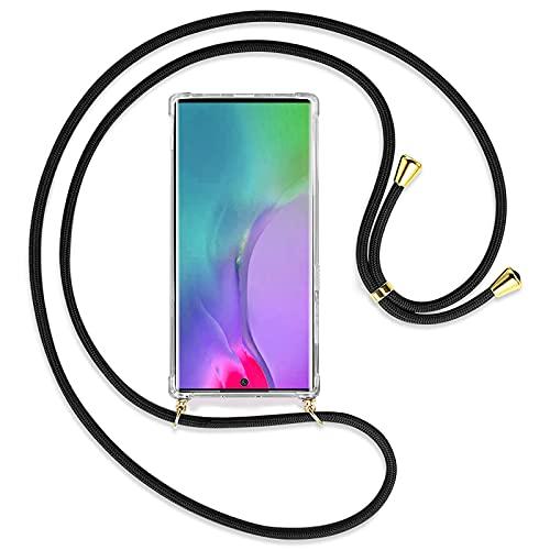 """TBOC Funda para Samsung Galaxy Note 10 Plus - Note 10+ 5G [6.3""""] - Carcasa Transparente con Cuerda [Negra] para Móvil Cordón Ajustable Práctico Collar de Moda Cadena para Cuello Resistente Arañazos"""