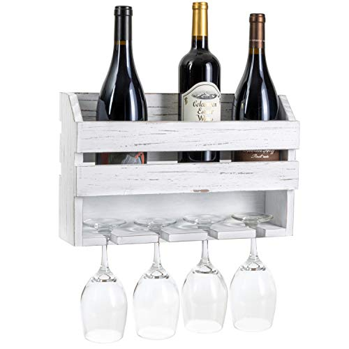 Wall Mount Wine Rack, Weathered White Wood - Mounted Wooden Holder for Wine Bottles & Glasses