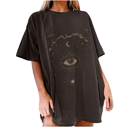 Bravetoshop Oversized T Shirts for Women Vintage Mon and Sun Graphic Tee Casual Boyfriend Loose Short Sleeve Blouse Tops (Dark Gray,XL)