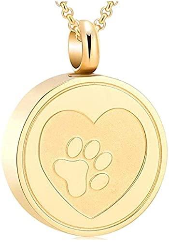 Yiffshunl Collar Hombre Collar Mujer Colgante Gratis Grabado para Mascotas Urna de Acero Inoxidable Collar de tripulación Medallón Keep Dog/Cat Bara Joyería Collar Recuerdo Niños Niñas Regalo