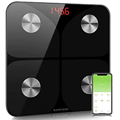 KAMTRON Scales for Body Weight - Body Composition Analyzer Monitor Bathroom Body Fat Scales, High Precision Measuring for BMI, Visceral Fat, Muscle, Body Age etc, Smart APP for Fitness