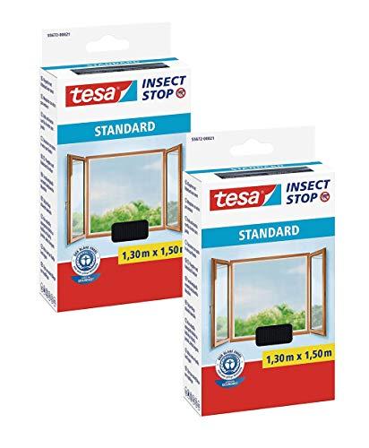 tesa® Insect Stop Standard Fliegengitter für Fenster - Insektenschutz zuschneidbar (2er Pack - Anthrazit (Durchsichtig), 1,3m:1,5m)