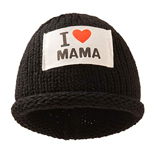 "puseky Gorro de punto para bebé, con texto en inglés ""I Love Mama Hats Winter Warm Knit Stretch Chunky Beanie Hat para 0-3Y Baby Boys Girls"
