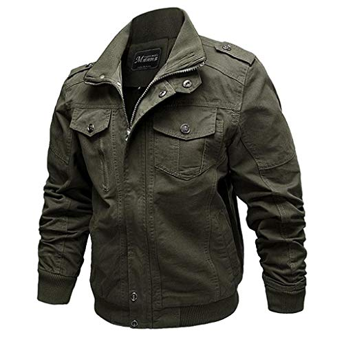 LIXIYU Herrenblouson beiläufige Militärfracht Jacke Windjacke Arbeitskleidung Große Jacke Uniform Outdoor Leisure,Army Green-XXL