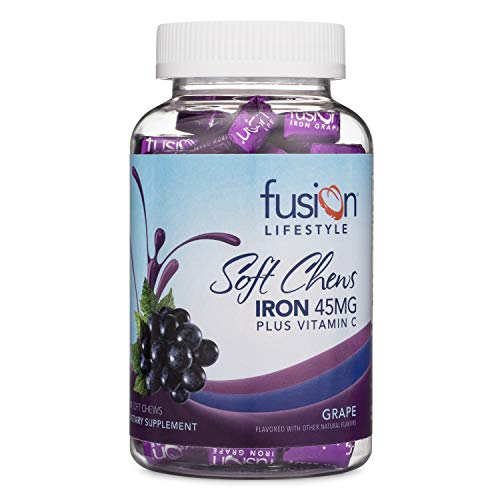 Fusion Lifestyle Iron Supplement for Women and Men, Grape Flavored Iron Soft Chew Plus Vitamin C for Iron Deficiency and Anemia, 2 Month Supply, 60 Count